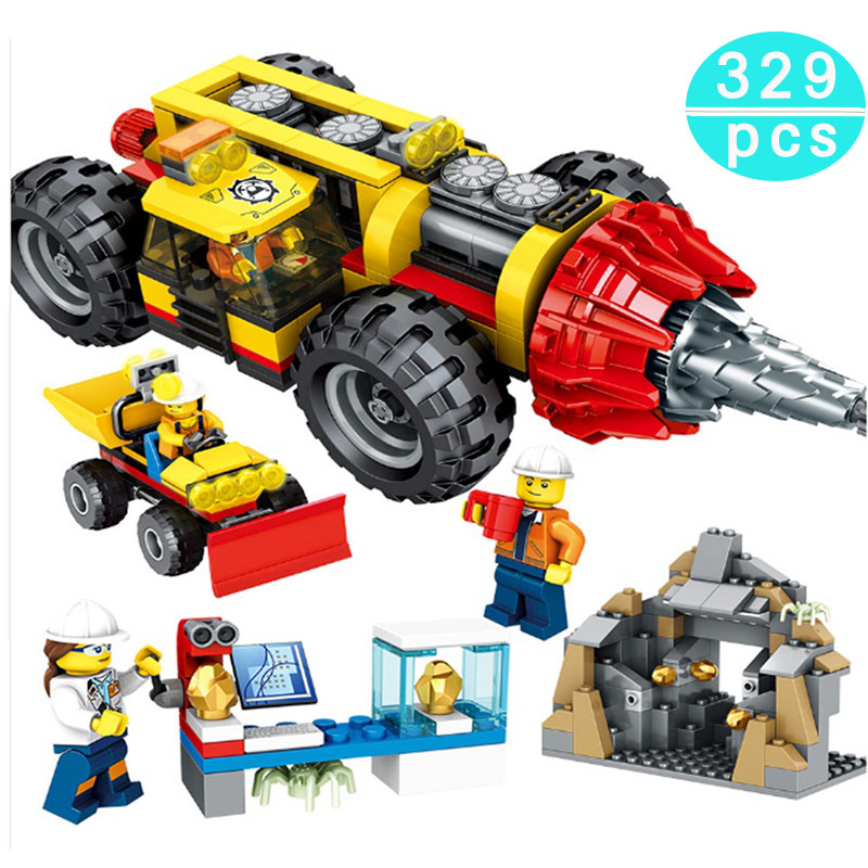 329Pcs Compatible Legoing City Engineering Construction Heavy Mining Drilling Machine Building Blocks Figures Bricks Toys Gift