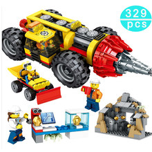 329Pcs Compatible legoing City Engineering Construction Heavy Mining Drilling Machine Building Blocks Figures Bricks Toys Gift 279pcs 2019 new building blocks toys compatible friends city engineer series saw wheel drilling mining truck vehicle gifts