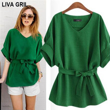 Liva Girl Fashion Women Blouses Kimono Bowknot V-neck Short Sleeve Chiffon Blouse Casual Vintage Blusas Plus Size Tops Shirt