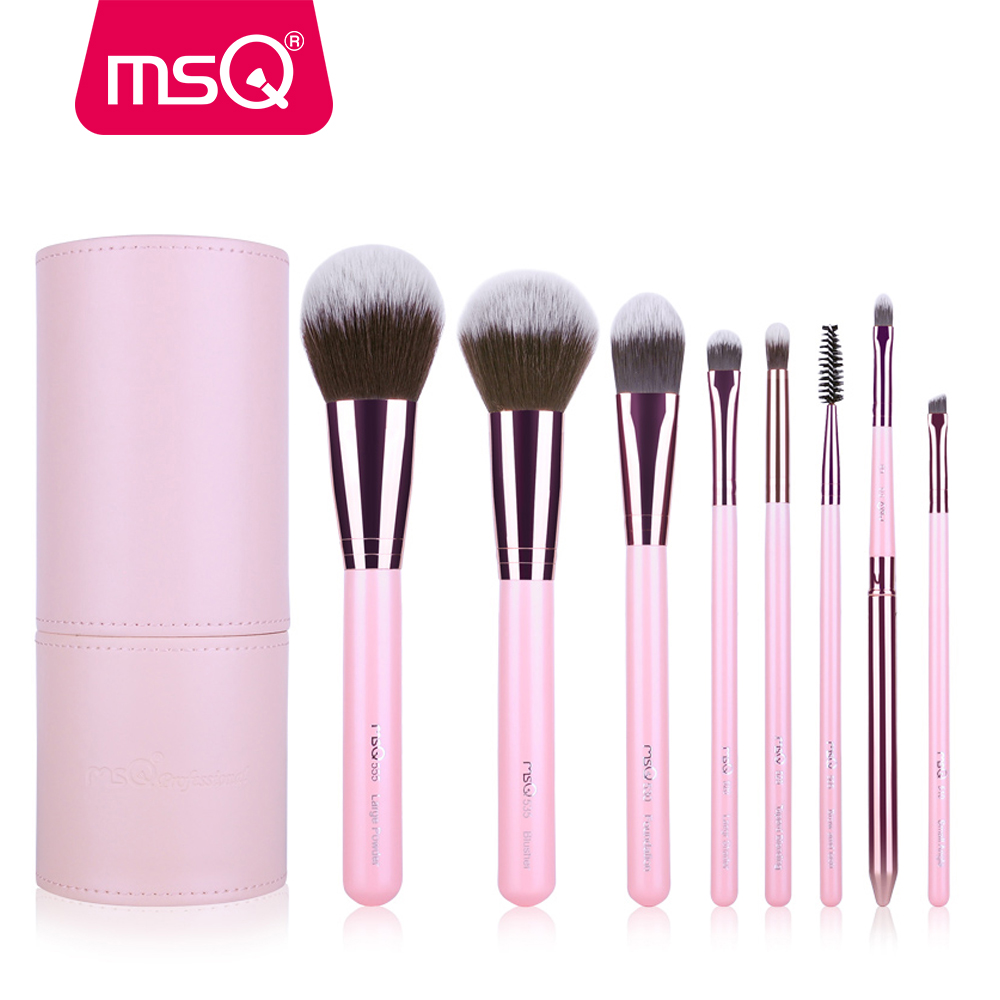 MSQ 8st make-up kwasten set professionele cosmetische schoonheid tool make-up roze borstel met pu lederen cilinder foundation poeder tool