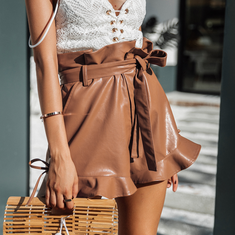 Simplee Side lace up black Leather shorts Women cinched belt eyelet high waist shorts 2017 autumn camel short paperbag bottom 3