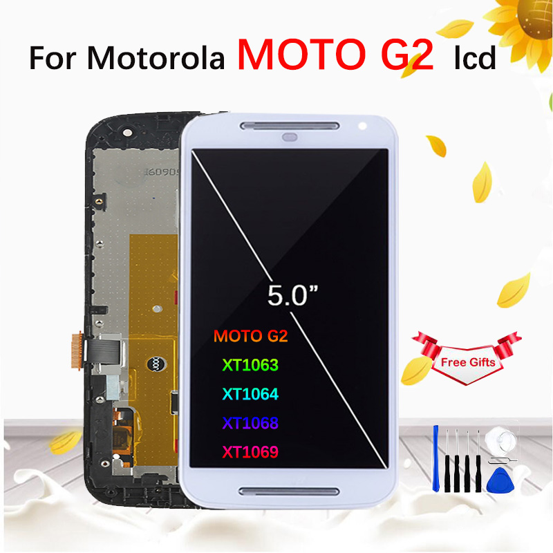 For <font><b>Motorola</b></font> MOTO G2 XT1063 XT1064 <font><b>XT1068</b></font> XT1069 LCD <font><b>Display</b></font> Touch Screen With Frame Digitizer Assembly Replacement image
