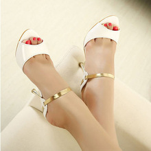White shoes woman Mary janes 2016 Summer fashion Golden women shoes high heelS sandals peep toe prom zapatos mujer