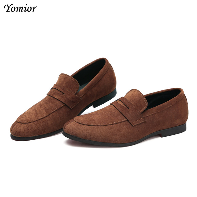 Yomior High Quality Cow Suede Men Formal Brand Shoes Fashion Loafers Male Wedding Dress Business Office Leather Shoes Flats high quality men fashion business office formal dress breathable cow leather brogue shoes gentleman tassel slip on shoe loafers