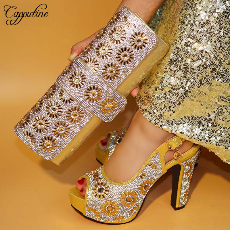 Capputin New Design High Heels Gold Color Shoes And Bag Set For Wedding Italian Design High Quality Shoes And Bag Set TX-421