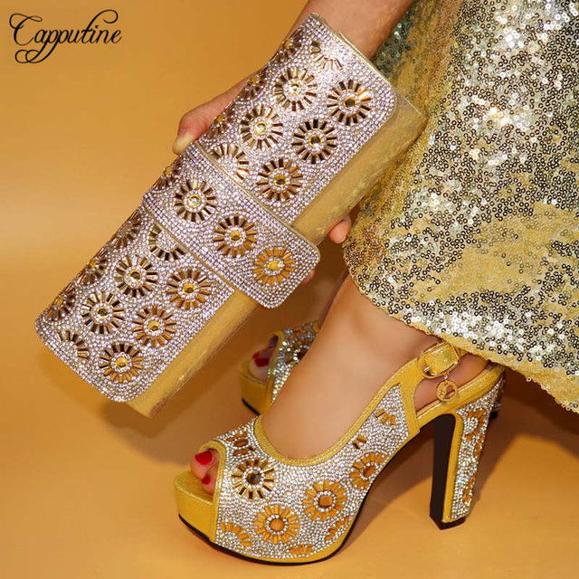 322fb39ed95b Capputin New Design High Heels Gold Color Shoes And Bag Set For Wedding  Italian Design Pumps Shoes And Bag Set Wholesale Price