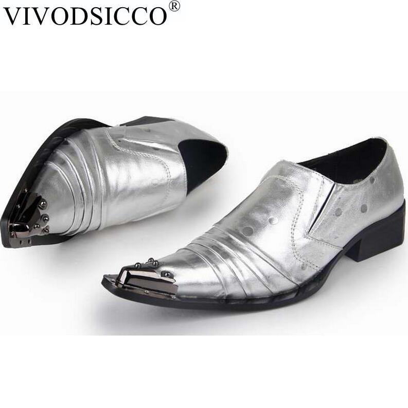купить VIVODSICCO New Classic Business Silver Men Dress Shoes Man Genuine Leather Sanke Wedding Shoes Social Sapato Male Club Shoes недорого