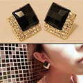 2015 Europe Trendy Luxurious Elegant Black White Sparkling Bling Rhinestone Square Stud Earrings for Women Jewelry
