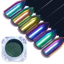 Holographic Chameleon Nail Powder Mirror Nail Art Chrome Peacock Pigment Glitters BORN PRETTY