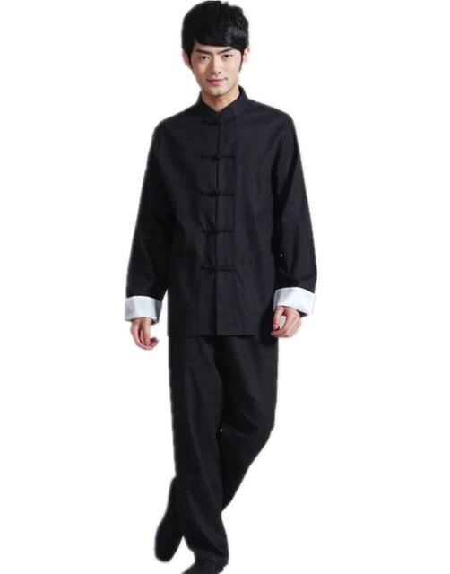 Free shipping martial arts cloth chinese traditional Tai chi wear mandarin collar clothing set Linen Black kung fu Shirt + pants