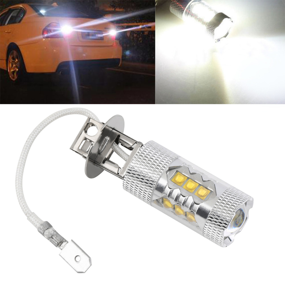 car styling H3 80W for Super Bright H3 LED White Fog Tail Turn DRL Head Car Light H3 LED Lamp Car LED Bulb Free Shippping 1pcs high power h3 led 80w led super bright white fog tail turn drl auto car light daytime running driving lamp bulb 12v