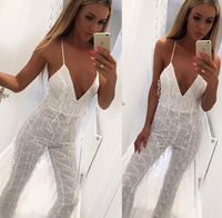 2017 deep v lace bodysuit women sexy white sleeveless backless jumpsuits KLY03