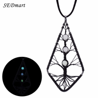 SEDmart Gun Black Geometric Glowing Bead Tree Of Life Pendant Necklace Oval Waterdrop Shell Long Velvet