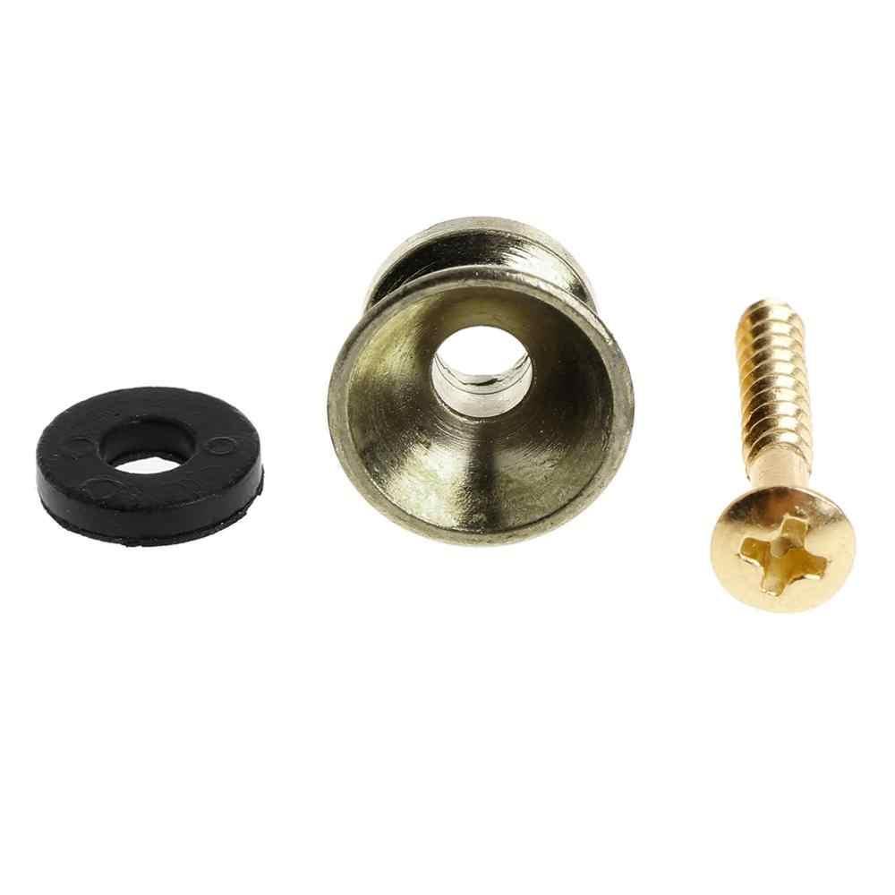 2 قطعة الكهربائية الصوتية الغيتار باس حزام المسمار قفل زر الفضة