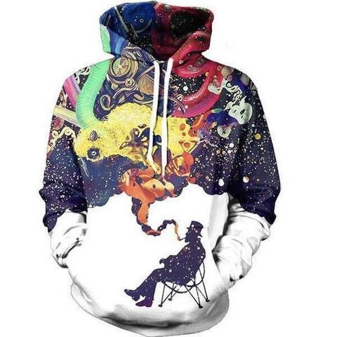 Fahsion 3d Sweatshirt Men Women Smoke Smoking Printed Hooded Hoodies With Cap Casual Tracksuit Pullover Mens Hoody