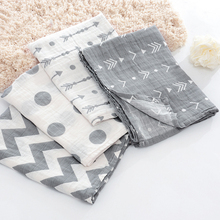 3-4pcs/lot 2 layers grey arrow muslin cotton Multi-usage swaddle baby Muslin receiving Blanket Bath Towel Newborn Swaddle Quilt