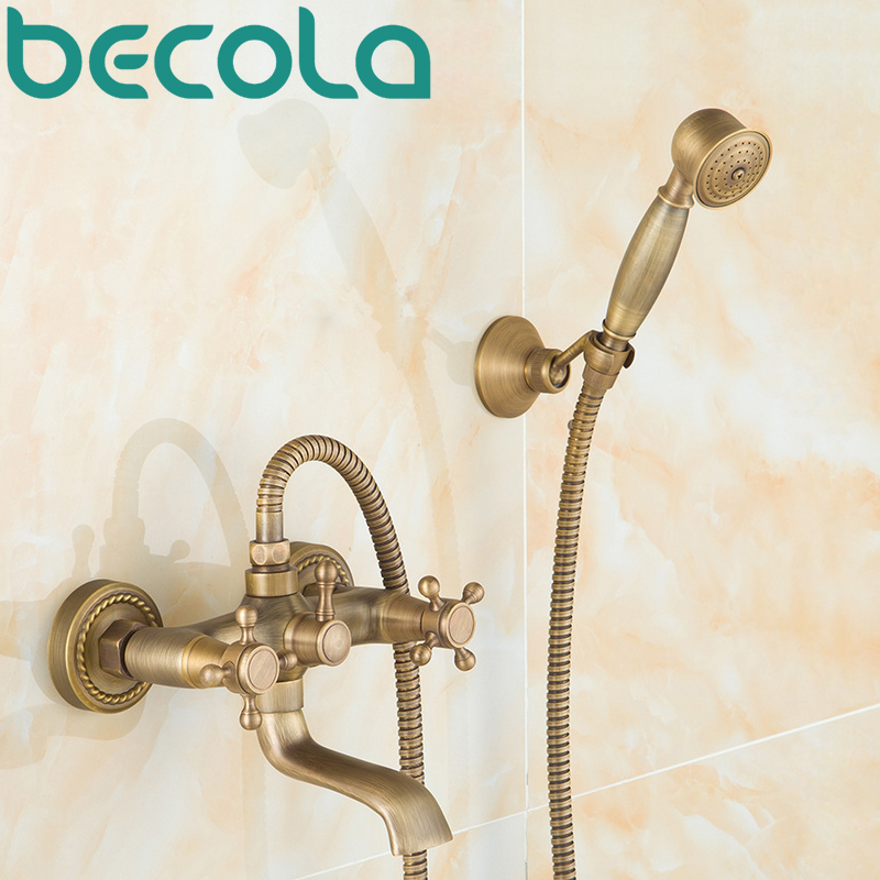 Livraison gratuite Antique en laiton baignoire robinet salle de bain mural robinet de douche ensembles avec douchette HY-689Livraison gratuite Antique en laiton baignoire robinet salle de bain mural robinet de douche ensembles avec douchette HY-689