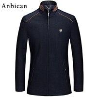 Anbican Moda Siyah Yün Ceket Erkekler Slim Fit Ceketler 2017 Marka yeni Tasarım Kış Casual Ceket Palto Erkek Bezelye Ceket Artı Boyutu