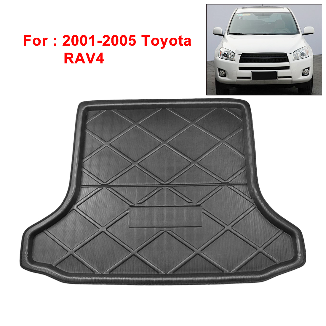 X Autohaux PE+EVA Foam Plastic Black Anti-dirty Rear Trunk Boot Liner Cargo Mat Floor Tray Cover Pad For Toyota RAV4 2001-2005