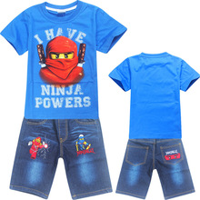New Boys T-shirts for Summer Kid's Ninjago Cartoon Short T Shirts + Jeans Pants Sportsuit Tracksuit Clothes Baby Clothing Sets