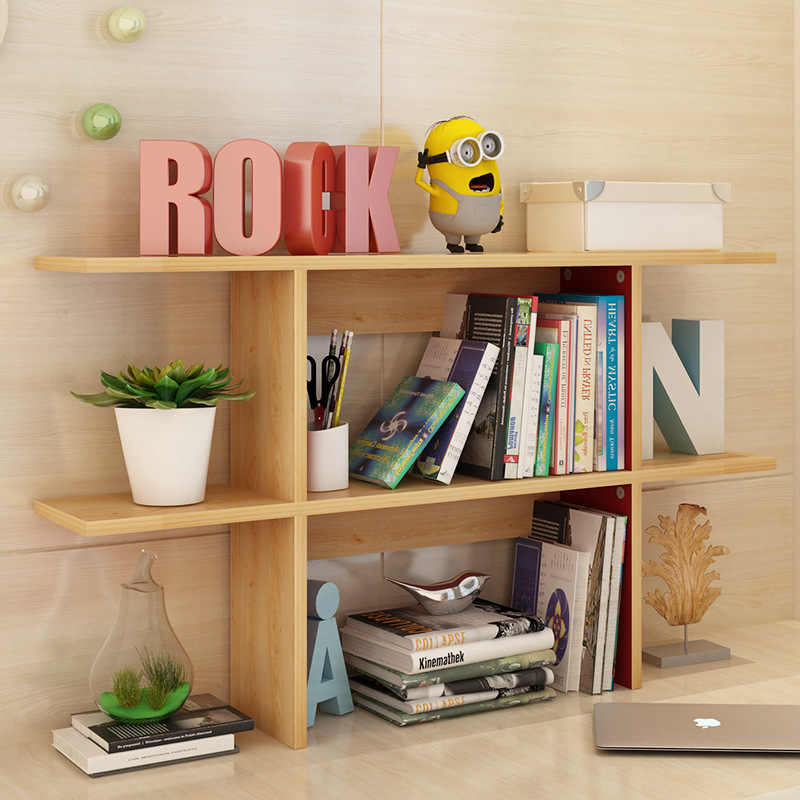 DIY Bookcase Decorative Wooden Bookshelf Easy Installation Plant Shelf Book Stand Sundries Rack Creative Modern Home Decoration
