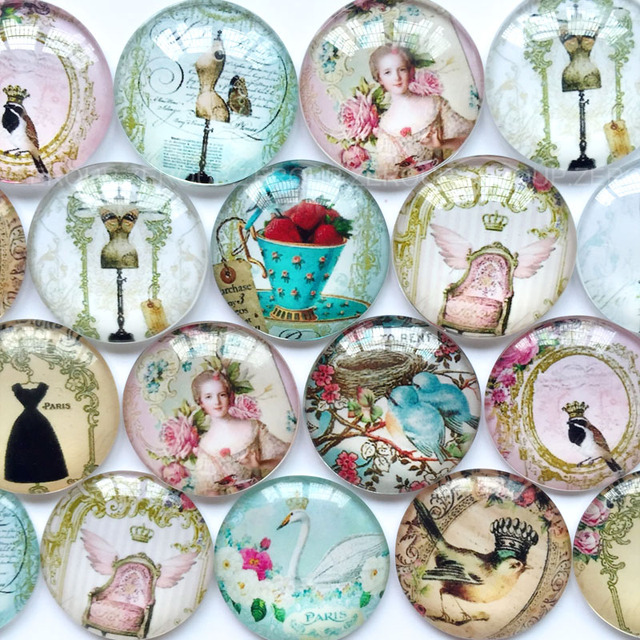 ZEROUP Round Photos Glass Cabochon Mixed Pattern fit Cameo Base Setting Jewelry Components 1