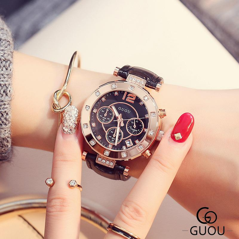 GUOU Fashion Bracelet Women Watches Luxury Brand Ladies Quartz Wrist Watch Relogio Feminino Reloj Mujer Clock Saat Hodinky guou luxury brand women quartz watch relogio feminino gold bracelet clock ladies fashion casual stainless steel wrist watches