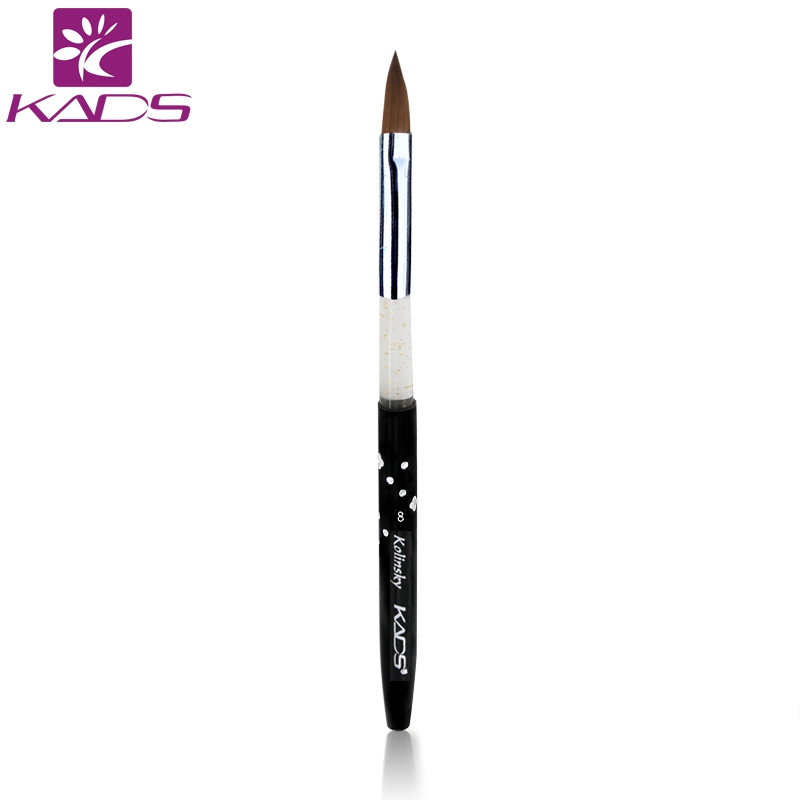 KADS Size 8# black 100% Kolinsky Sable Brush.Professional kolinsky sable acrylic nail brush for acrylic brush wholesale 100pc set 100% kolinsky sable brush black nail brush for nail art size 2 acrylic brush best price color black