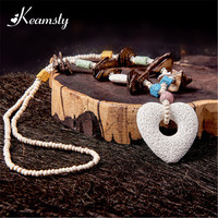 Keamsty Heart Shape White Lava Stone Diffuser Pendant Necklace Strand Beads Necklaces Choker For Women Fashion