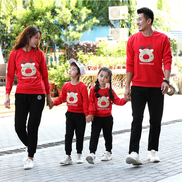 ef7c3b972c Deer parent-child outfit fall 2018 new family of Christmas outfit The three  mother and son and daughter who garments