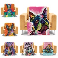 Colorful Boxer Dog Throw Blanket For Couch Sofa Bed Cute Animal Blanket Luxury Soft Warm Home
