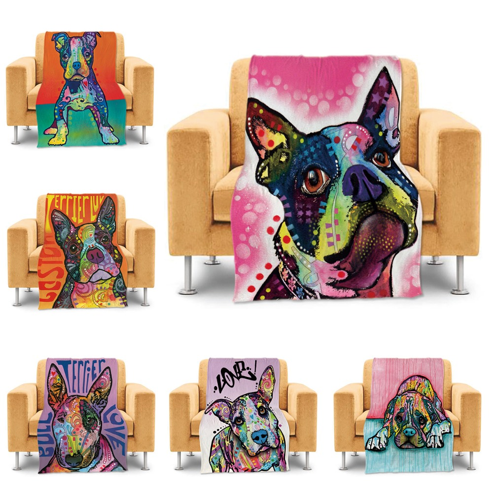 online get cheap dog throw blankets aliexpresscom  alibaba group - colorful boxer dog throw blanket for couch sofa bed cute animal blanketluxury soft warm home