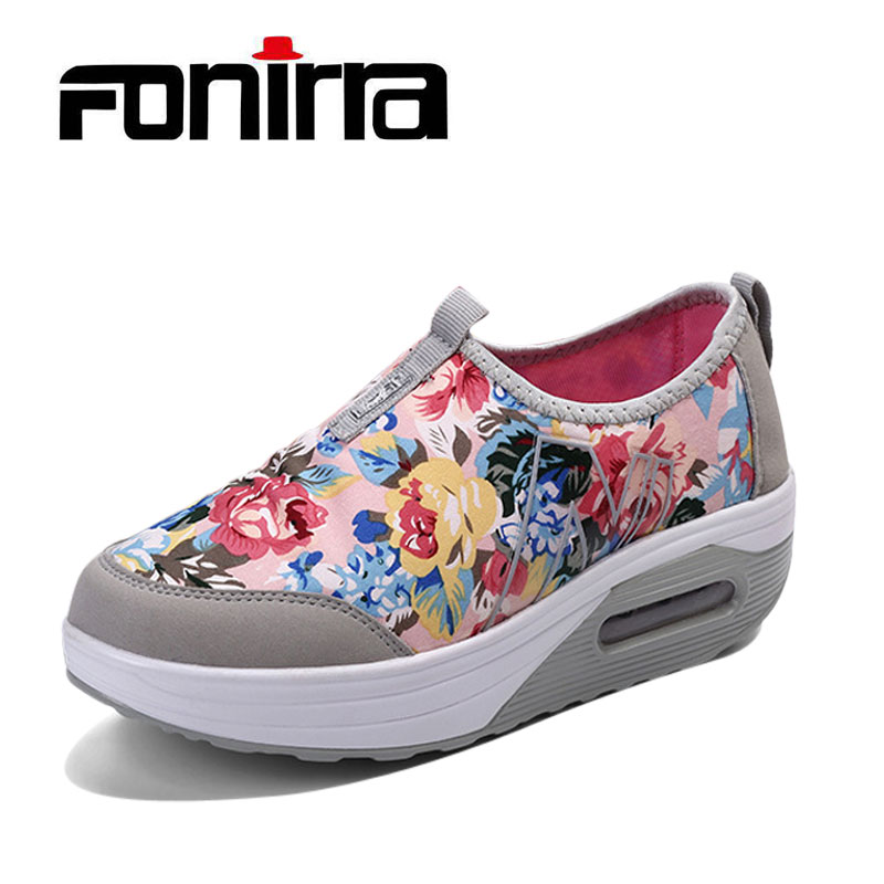 Spring Shake Shoes Kvinnor Skriv ut Casual Outdoor Shoes Flower - Damskor - Foto 1