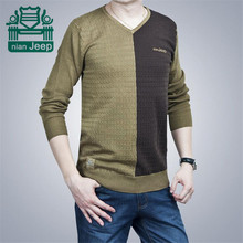 Nian AFS Jeep V-neck Casual Cotton Men's Patchwork Casual Overall Knitted Sweater,High Quality Pullover Knitted Outwear Big Size