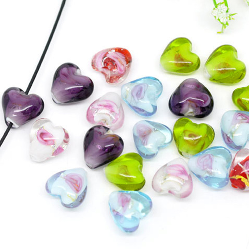 200Pcs Mixed Color-Lined Foil Heart Valentine Love Lampwork Glass Beads Jewelry DIY Component 12x12mm
