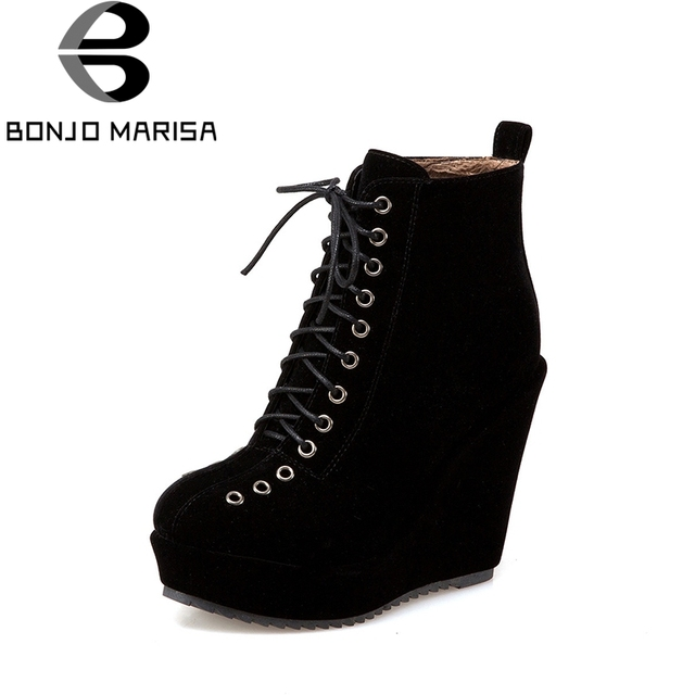 103a848e30e4c BONJOMARISA Women's Lace Up Vintage High Heel Wedge Shoes Woman Round Toe  Platform Ankle Boots Big Size 34-43