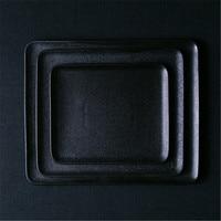 KINGLANG ceramic Black square dish steak plate Western dish home fruit square flat plate