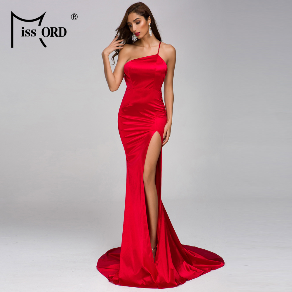 Missord 2020 Women Sexy Irregular Neck Off Shoulder Backless Dresses Female Elegant High Split Maxi Dress Vestdios   FT19295