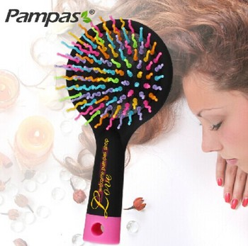 1pc new rainbow hair brush for brazilian indian keratin extension human wig styling candy magic comb tools Free shipping 目