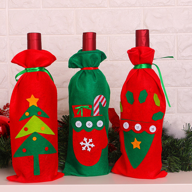 2018 christmas decoration supplies new christmas bottle bag wine bottle decoration christmas sticker bottle bag 3pcs - Christmas Bottle Decorations