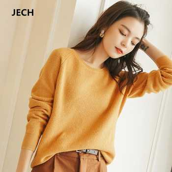 Winter O Neck Women Cashmere Wool Sweaters JECH 2018 Casual Solid Slim Sweaters Women Long Sleeve Pullovers Knitted Female Plus - DISCOUNT ITEM  0% OFF All Category
