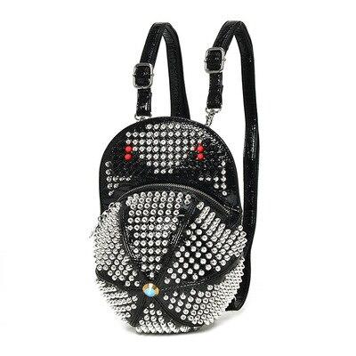 Steampunk argent cuir casquette sac à dos femmes Cool monstres Rock sac à bandoulière noir Rivet sacs école sacs à dos pour adolescente filles
