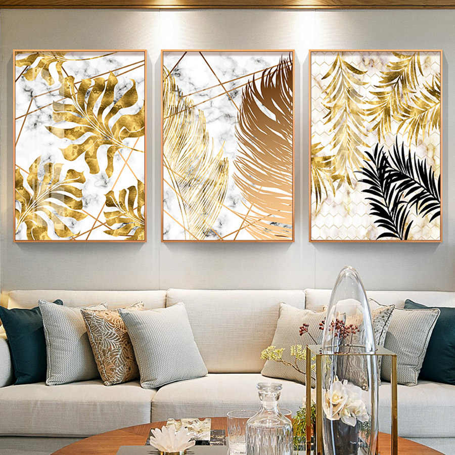 Wall Art Nordic Plants Gold leaf Canvas Painting Abstract Marble Posters and Print Pop Art Picture for Living Room Kitchen Decor