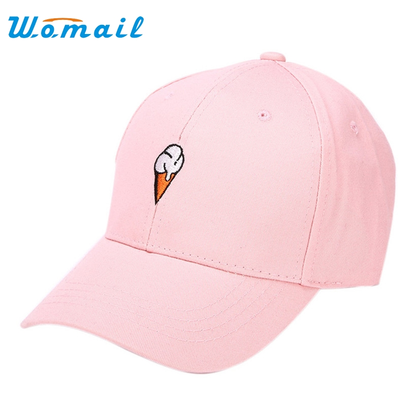 Womail snapback caps 2017  Unisex summer ice cream embroidered baseball cap hip hop hat hats for men women #20 Gift 1pc chic ice cream color suede baseball hat