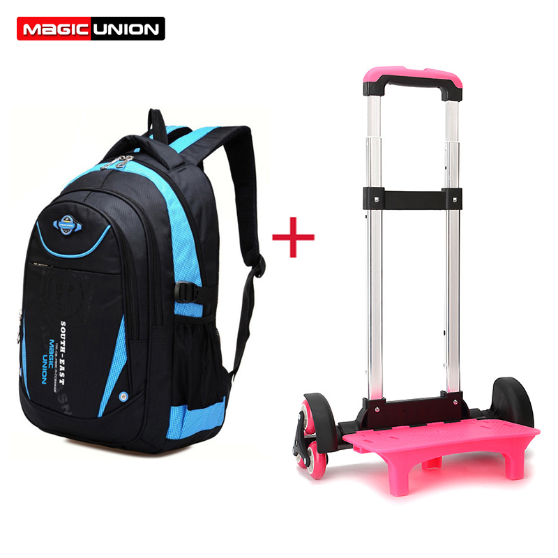 MAGIC UNION Removable Children Trolley School Bags 3 Wheels For Girls Boys Trolley Backpack Primary School