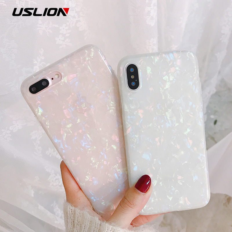 USLION Glitter Phone Case For iPhone 7 8 Plus Dream Shell Pattern Cases For iPhone XR XS Max 7 6 6S Plus Soft TPU Silicone Cover jeans texture leather coated pc tpu mobile cover for iphone 7 plus grey