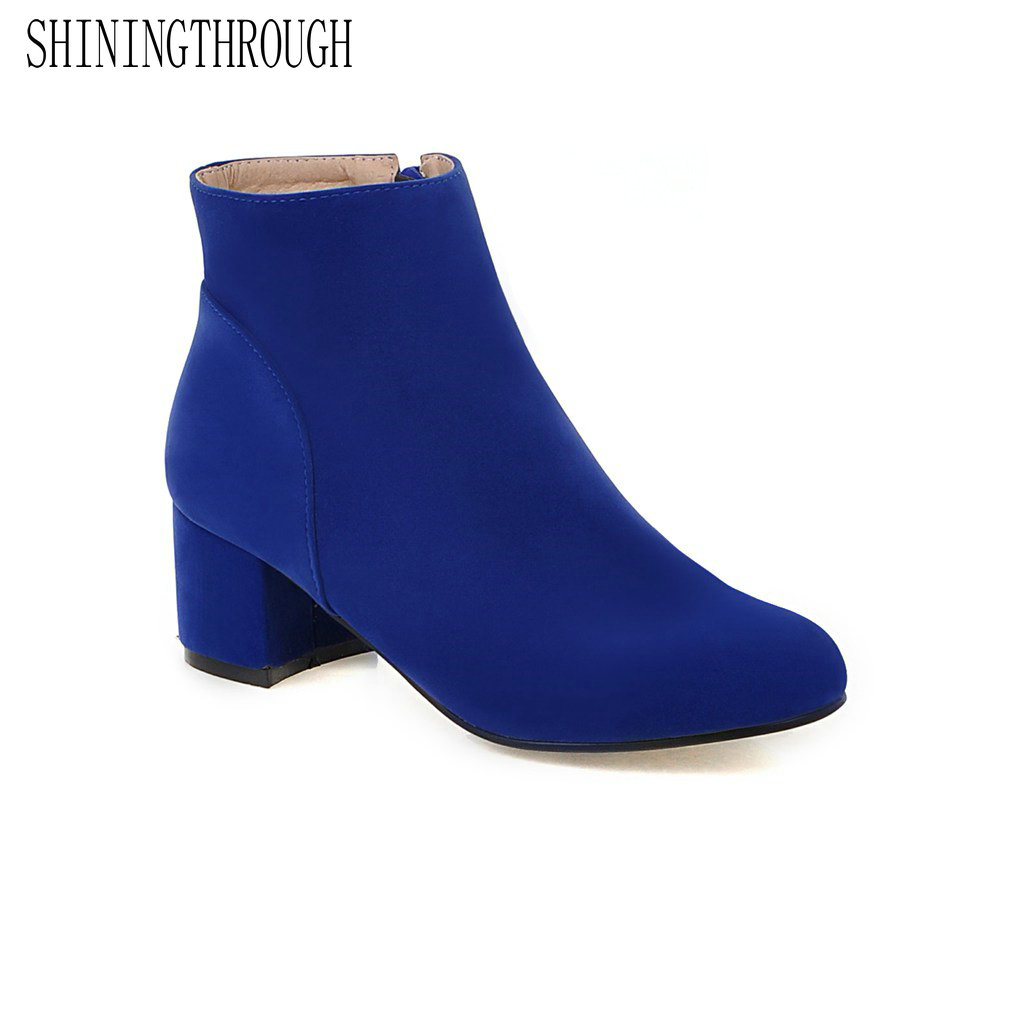 SHININGTHROUGH Women High Heels Ankle Boots Black/blue Flock Short Plush Vintage Boot Ladies Winter Warm square Toe Zip Shoes sexy women boots solid flock suede zip high heels boots lady stiletto pointed toe ankle boots martin boot red white black
