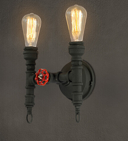 Northern Europe Industrial Vintage Loft Style Iron Water Pipe Restaurant Decoration Wall Lamp Bedroom Retro Lamp Free Shipping free shipping high quality glass steam pipe head mirror lamp loft northern europe american vintage retro wall lamp e27