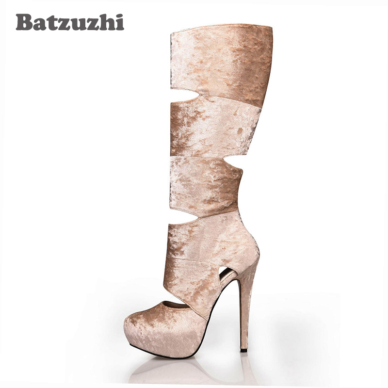 Batzuzhi-Gold Diamond Velvet Leather Boots 14cm High Heels Knee-high Boots Hollow Out Platfrom Long Boots Sexy Party, 35-43 gold sexy gold thread embroidery hollow out lace crop top