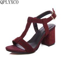 QPLYXCO Plus Big Size 34-46 shoes woman high heels Sandals t
